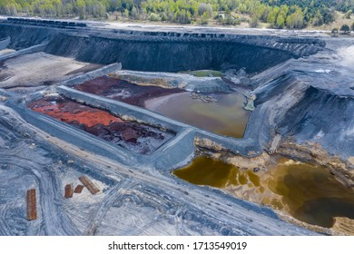 Aerial view over the building materials processing factory. Sand and coal mine. View from above. Degraded landscape in south of Poland.