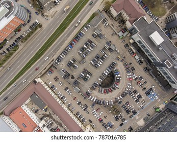 Aerial view over busy capital city Vilnius district, during cloudy Autumn day.