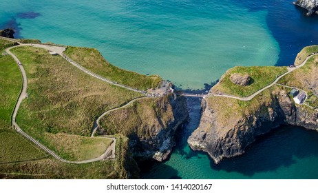Aerial view over Carrick-A-Rede Rope Bridge in North Ireland - travel photography