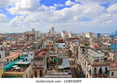 Aerial view over Centro Havana, a poor area in Havana on the island of Cuba