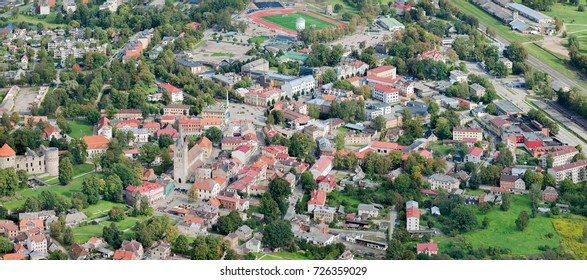aerial view over the Cesis city (in Latvia)