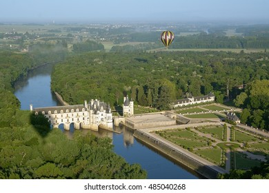 Aerial view over chenonceau castle with hot air balloon. Loire valley