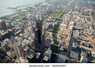 Aerial view over Chicago, Illinois.