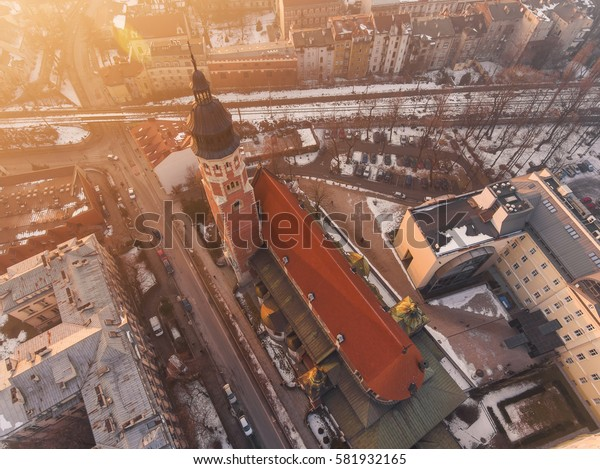 Aerial view over Church in Krakow, at sunset time, drone photography