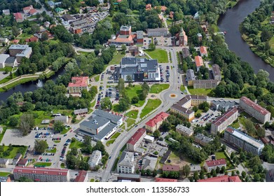 aerial view over the city