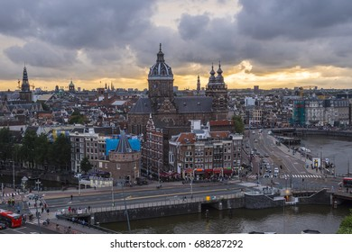 Aerial view over the city of Amsterdam - AMSTERDAM / THE NETHERLANDS - JULY 18, 2017