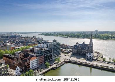 Aerial view over the city of Antwerp in Belgium from Museum aan de Stroom.