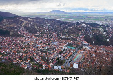 Aerial view over the city of Brasov, Romania