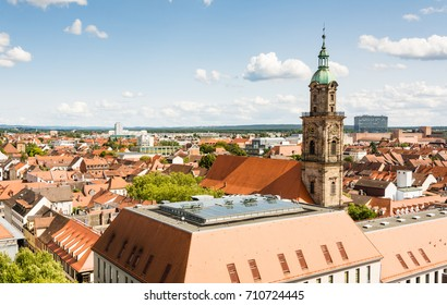 Aerial view over the city of Erlangen (Franconia, Germany)