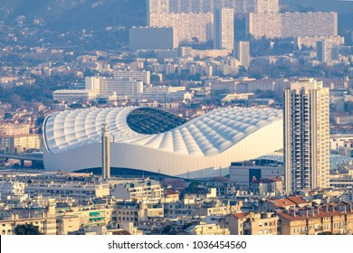 Aerial view over the city of Marseille, the Stade Velodrome. France.