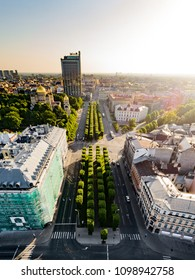 Aerial view over city street in Riga, Brivibas street main street in Riga, Latvia