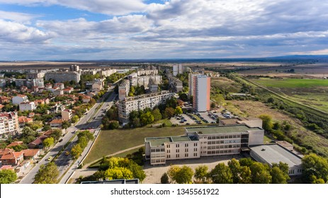 Aerial view over the city of Yambol, Bulgaria