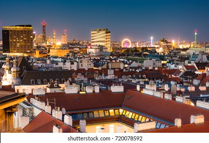 Aerial view over the cityscape of Vienna (Austria) at night