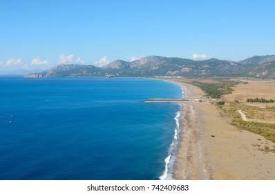Aerial view over Dalaman beach toward Sarigerme on the Meditteranean coast of Turkey.