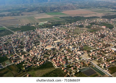 Aerial view over Dalaman town in Mediterranean Turkey.