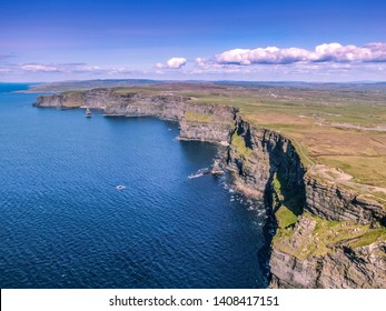 Aerial view over the famous Cliffs of Moher in Ireland - aerial photography