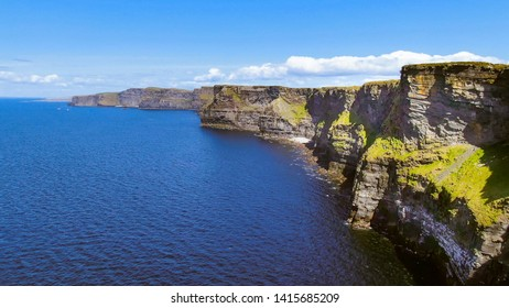 Aerial view over the famous Cliffs of Moher in Ireland - travel photography
