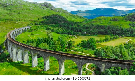 Aerial view over the famous Glenfinnan viaduct in the highlands of Scotland