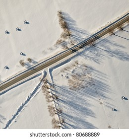 Aerial view over fields in winter