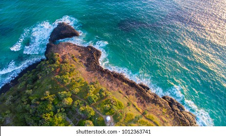 Aerial view over Fingal Head light house and Giants Causeway, NSW Australia
