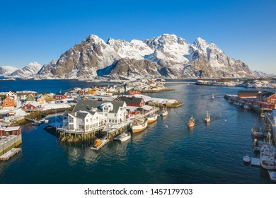 Aerial view over the fishing village of Henningsvaer, Lofoten archipelago, Norway