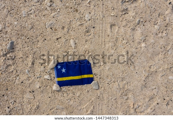Aerial view over to the flag of  Curaçao/Caribbean /Dutch Antilles