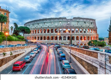 Aerial view over the Flavian Amphitheatre, aka Colosseum in Rome, Italy. Long exposure at dusk