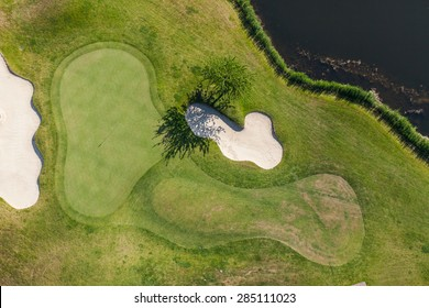 Aerial view over golf field  near Wroclaw city in Poland