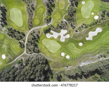 Aerial view over golf field in Poland. Summer time.