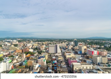 Aerial view over Hadyai city, Thailand in most cloudy day.