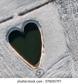 aerial view over the heart shaped pond