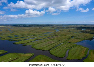 Aerial view of  over Historic dutch Waterland landscape in may, the ilperveld near Den Ilp and Landsmeer the  Netherlands