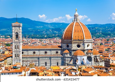 Aerial view over the historical medieval  buildings including the Cathedral of Santa Maria del Fiore in the old town of  Florence, Italy
