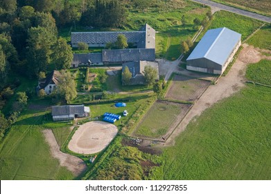 aerial view over the horses farm and training place