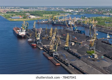 Aerial view over industrial port of Riga, Latvia