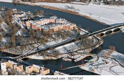 aerial view over the Jelgava city