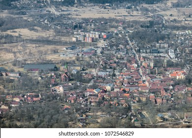 aerial view over the Kuldiga city (Latvia)