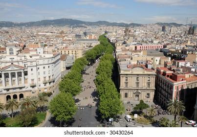 Aerial view over La Rambla in Barcelona, Spain