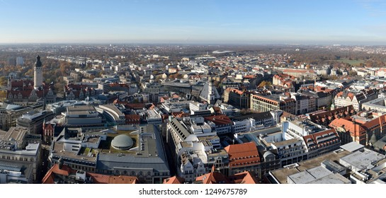 Aerial view over Leipzig, Germany.