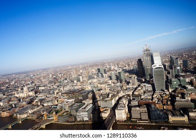 Aerial view over London city with view of St Paul's Cathedral and the financial district