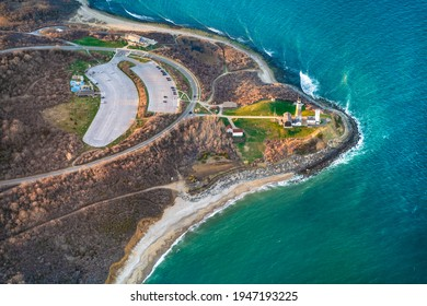 Aerial view over Long Island with Montauk Point Lighthouse and ocean in view