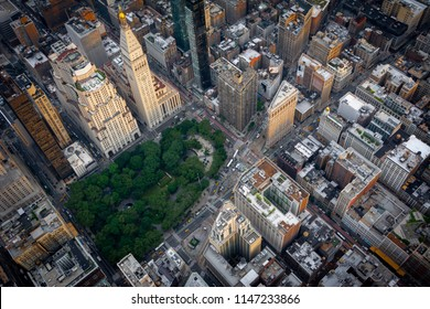 Vue aérienne sur le Madison Square Park dans le Midtown Manhattan, New York.