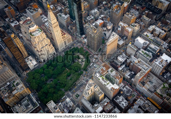 Aerial view over Madison Square Park in Midtown Manhattan, New York.