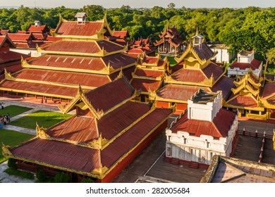 Aerial view over the  Mandalay Palace at late afternoon