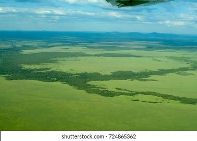 An aerial view over the Masai Mara and Serengeti