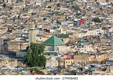 Aerial view over the medina in Fes, Morocco.