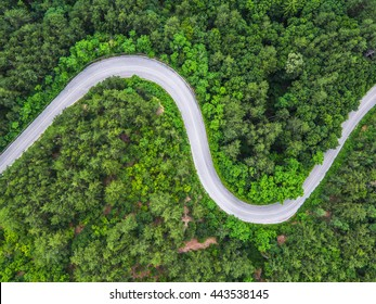Aerial view over mountain road going through forest landscape