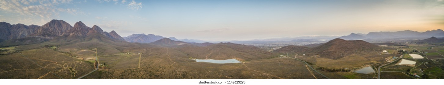 Aerial view over the mountains outside the town of Worcester in the Western Cape of South Africa