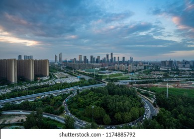 Aerial view over the Nanjing city, urban architectural landscape
