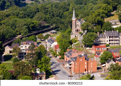 Aerial view over the National Park town of Harpers Ferry in West Virginia with the church and old buildings in the city